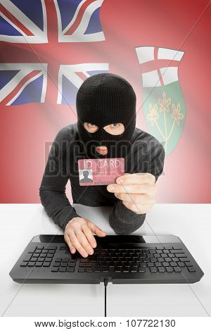 Hacker With Canadian Province Flag On Background Holding Id Card In Hand - Ontario