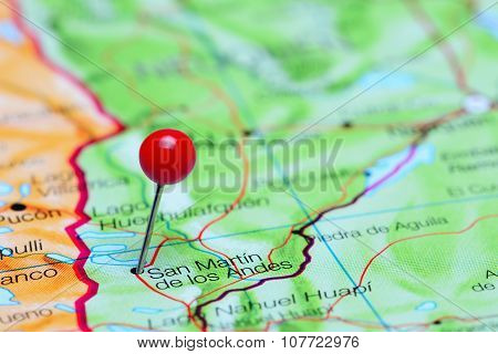 San Martin de los Andes pinned on a map of Argentina