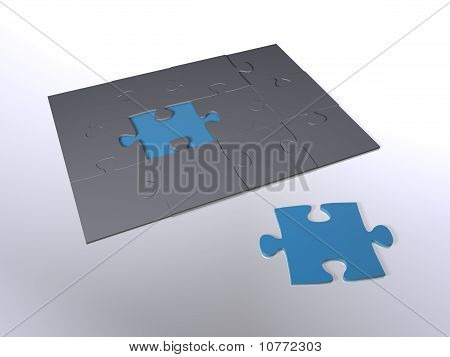 A puzzle piece next to other pieces