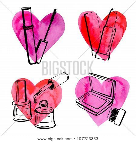 Set Of Doodle Cosmetics With Textured Hearts
