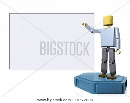 3D figure pointing to a message board