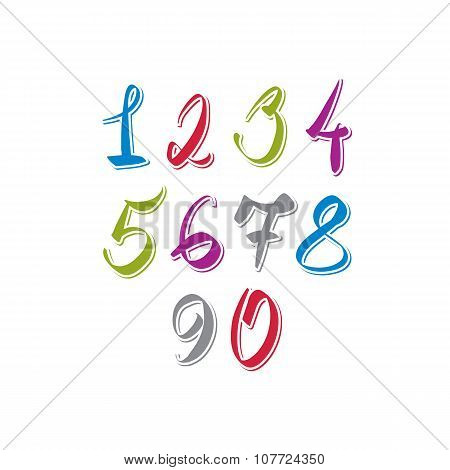 Handwritten vector numbers set colorful. Modern numeration.