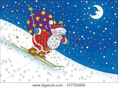 Santa Claus skier