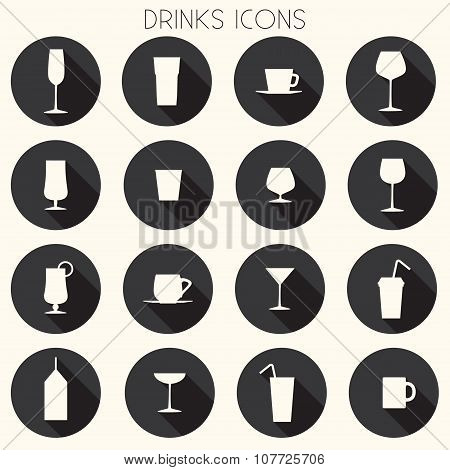 Drinks Icons Set - vector
