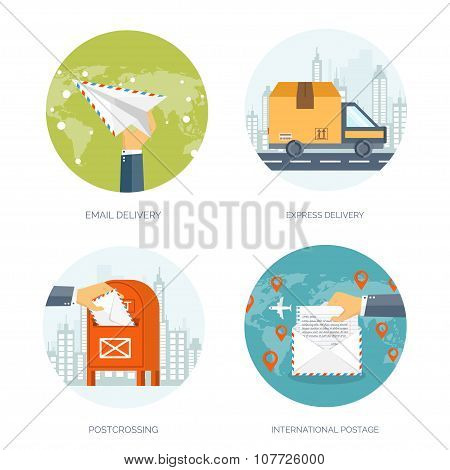 mail delivery vector illustration set