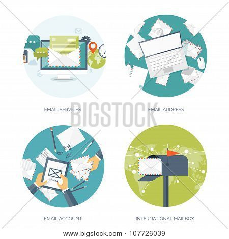 email delivery vector illustration set