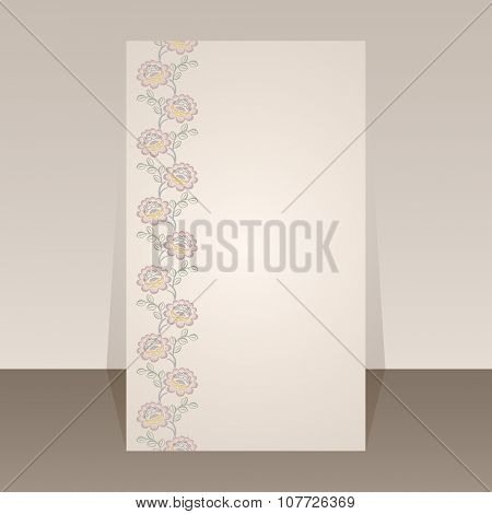 Flower border vector page template with copy space.
