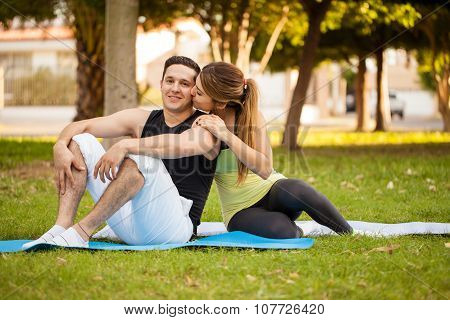 Couple In Love Working Out Together