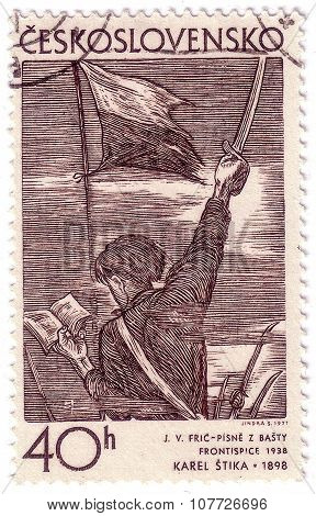 Czechoslovakia - Circa 1971: Stamp Printed By Czechoslovakia, Shows Song Of The Barricades, By Karel