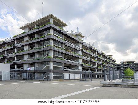 exterior of multi-level public car parking