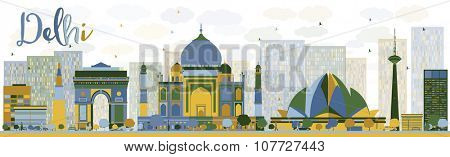 Abstract Delhi skyline with color landmarks. Vector illustration. Business travel and tourism concept with historic buildings. Image for presentation, banner, placard and web site.
