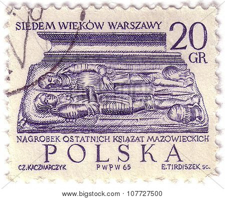 Poland - Circa 1965: A Stamp Printed By Poland Shows Tombstone Recent Dukes Of Mazovia, Series Seven