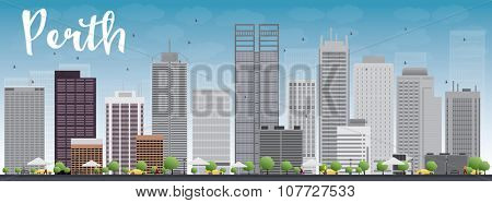 Perth skyline with grey buildings and blue sky. Business travel and tourism concept with modern buildings. Image for presentation, banner, placard and web site.