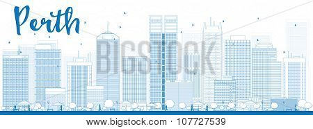 Perth skyline with blue buildings. Business travel and tourism concept with modern buildings. Image for presentation, banner, placard and web site.
