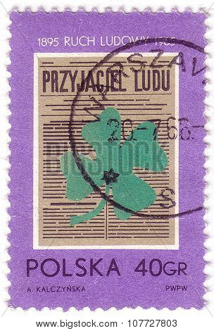 Poland - Circa 1965: A Stamp Printed In Poland Shows An Image Of Four Leaves Clower With Inscription