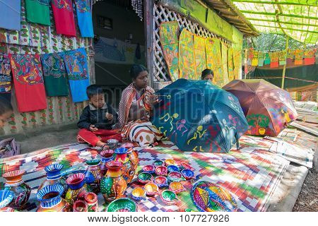Handicrafts Are Being Prepared For Sale In Pingla Village, West Bengal, India