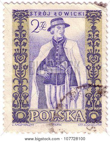 Poland - Circa 1959: Stamp Printed By Poland, Shows Man In Polish Folk Costume, Circa 1959