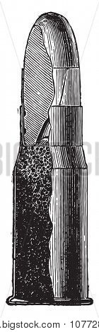 Rim fire cartridge, vintage engraved illustration. Industrial encyclopedia E.-O. Lami - 1875.