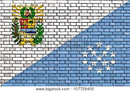 Flag Of Sucre State Painted On Brick Wall