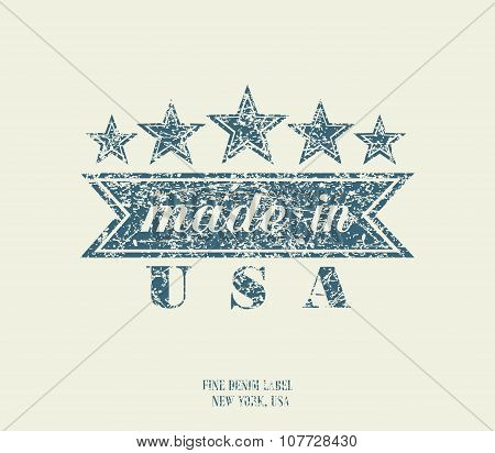 Vintage Denim Typography, Made In Usa, Vector