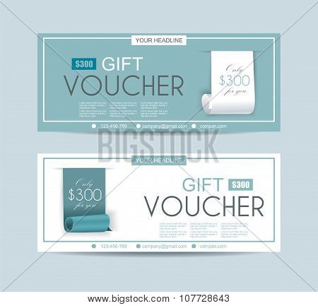 Voucher Template With Roll Paper Ribbon