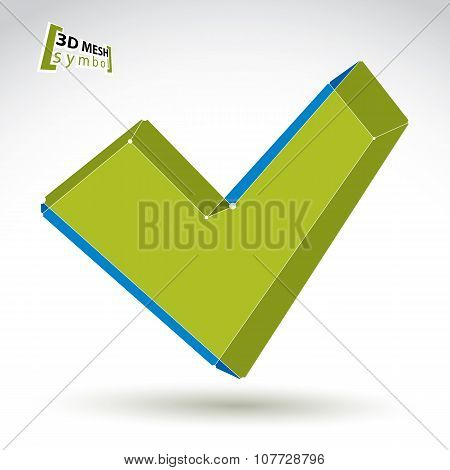 3D Mesh Colorful Validation Sign Isolated On White Background, Green Eco Checkmark Icon, Bright Dime