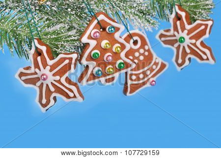 Blue Background With Christmas Gingerbread Cookies
