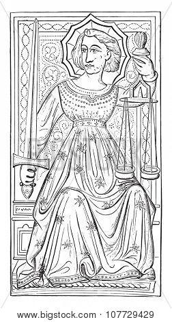 Justice, vintage engraved illustration. Industrial encyclopedia E.-O. Lami - 1875.