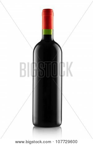 Red Wine And A Bottle Isolated On White