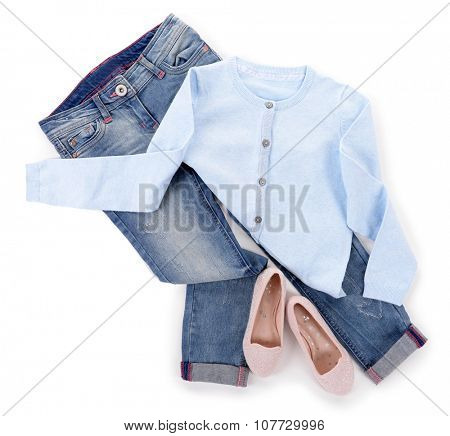 Blue jeans and jacket with shiny pink shoes isolated on white background