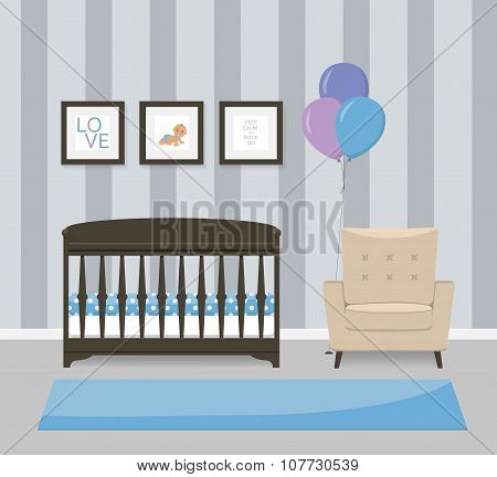 Baby room interior design in blue colors. Crib, armchair and framed pictures. Flat style vector illu
