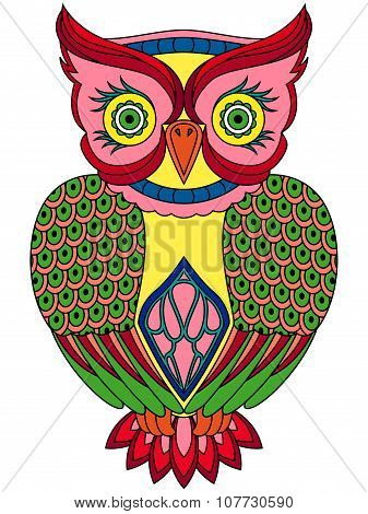 Colourful Big Serious Owl