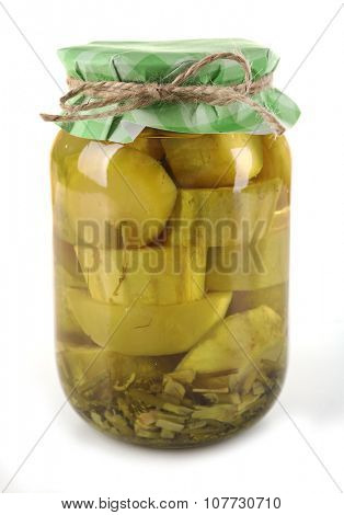 Preserved marrow in glass jar, isolated on white