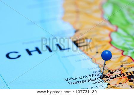 Valparaiso pinned on a map of Chile