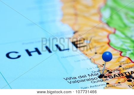 Vina del Mar pinned on a map of Chile