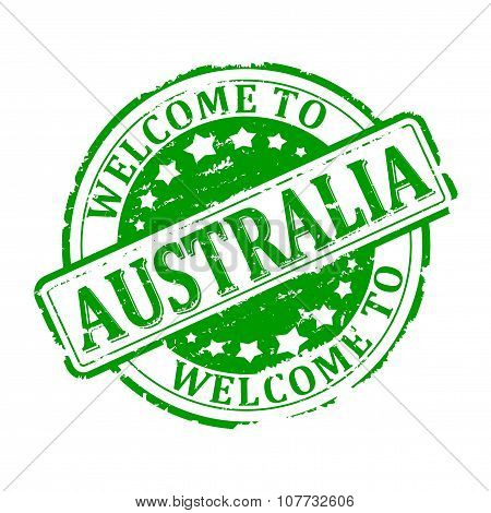 Damage To Green Stamp With The Words - Welcome To Australia - Illustration