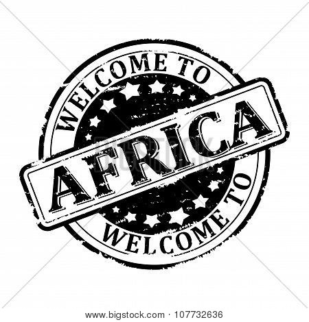 Damage To Black Stamp With The Words - Welcome To Africa - Illustration