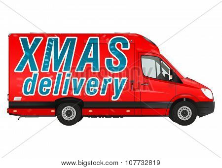Xmas delivery. Red Courier Van