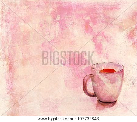 A watercolour drawing of a tea cup with a distressed background texture