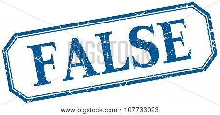 False Square Blue Grunge Vintage Isolated Label
