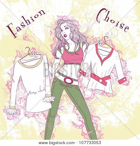 Decorative Fashion Illustration Pondered Woman With Clothes In H