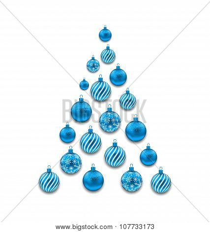 Christmas Abstract Tree made in Blue Glass Balls