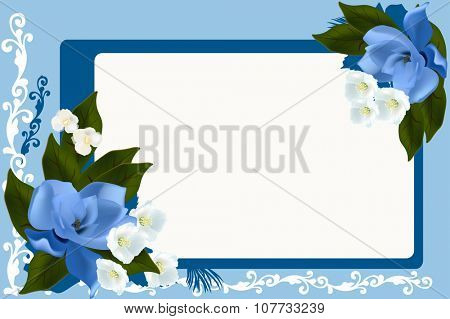 illustration with blue frame with magnolia and jasmine flowers