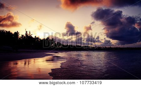 Beautiful Sunset Over The Tropical Beach In Punta Cana, Dominican Republic