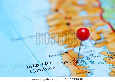 Castro pinned on a map of Chile