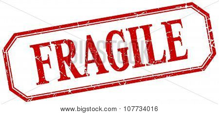 Fragile Square Red Grunge Vintage Isolated Label