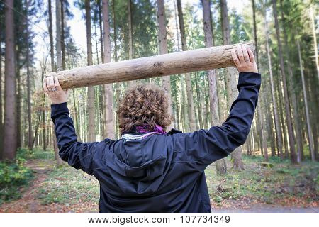Woman Fitness Exercises In Forest