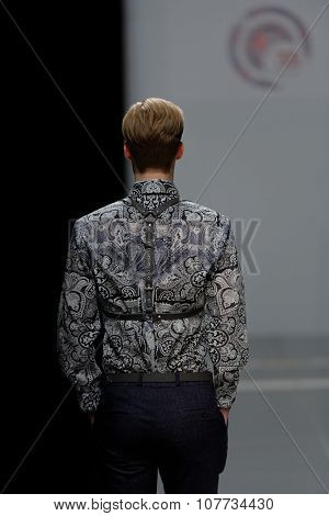 ST. PETERSBURG, RUSSIA - OCTOBER 28, 2015: Collection of Korsakov Atelier at the fashion show during Mercedes-Benz Fashion Day St. Petersburg. It is one of the most popular fashion events of the city