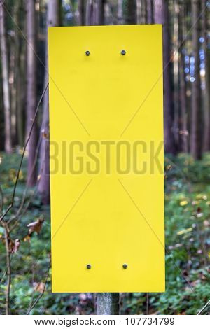 Empty Yellow Sign In Forest