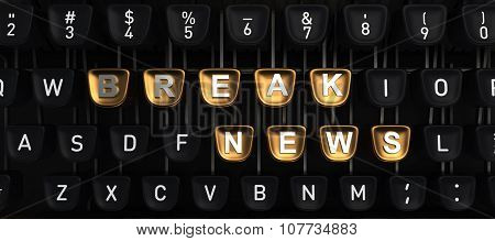 Typewriter with BREAK NEWS buttons